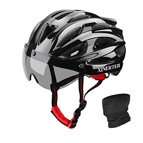 XinerTer Adult Bike Helmet Road Bike Helmet + Detachable Magnetic Goggles + Cycling face mask Replacement Lining Mountain Bicycle Helmets for Men and Women, Adjustable Size 22-24.2 in (Black+mask)