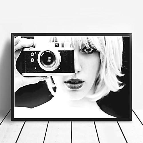 Puzzle 1000 Piezas Chica de cámara Pintura de Arte en Blanco y Negro Puzzle 1000 Piezas Adultos Juego de Habilidad para Toda la Familia, Colorido Juego de ubicación.50x75cm(20x30inch)