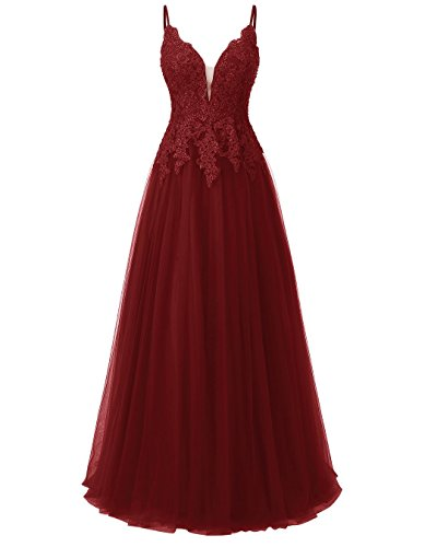 Carnivalprom Damen Spitze Abendkleider Für Hochzeit Elegant Brautkleid Spaghetti-Träger Ballkleider(Weinrot,38)