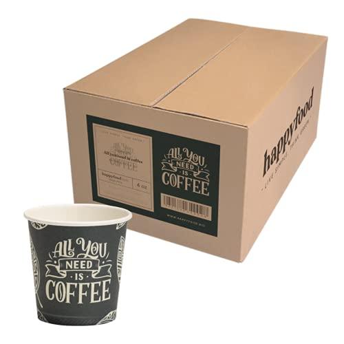 HAPPYFOOD 1000 Bicchierini Caffe Carta 110ml / 4oz Biodegradabili bicchieri eco tazzine tazza monouso usa e getta bio per caffè espresso - Confezione risparmio (All You Need is Coffe)