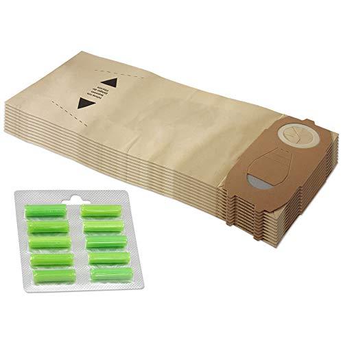 Set risparmio 10 sacchetti per aspirapolvere + 10 bastoncini profumati adatti per Vorwerk Folletto VK 118 119 120 121 122 - FP 118-122 - con carta speciale