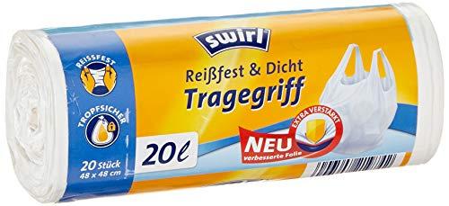 swirl® 261211 Tragegriff-Reißfest &Dicht Müllbeutel ,20 L, 20 Stück, 48x48 cm