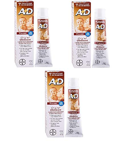 A+D Original Diaper Rash Ointment, Baby Skin Protectant with Lanolin and Petrolatum, Seals Out Wetness, Helps Prevent Diaper Rash, 1.5 Ounce Tube - Pack of 3