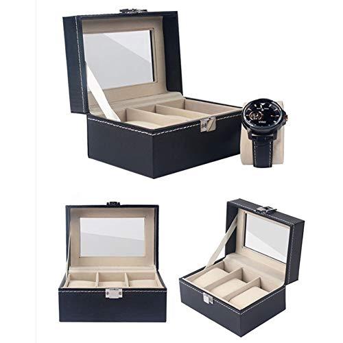 ZANGAO Praktische 2/3/6-Slot-Uhr-Display Box PU-Leder-Uhr-Anzeigen-Kasten Uhr-Storage Box-Uhr-Anzeigen-Fall-Uhr-Kasten (Color : Black, Size : 3 Slots)