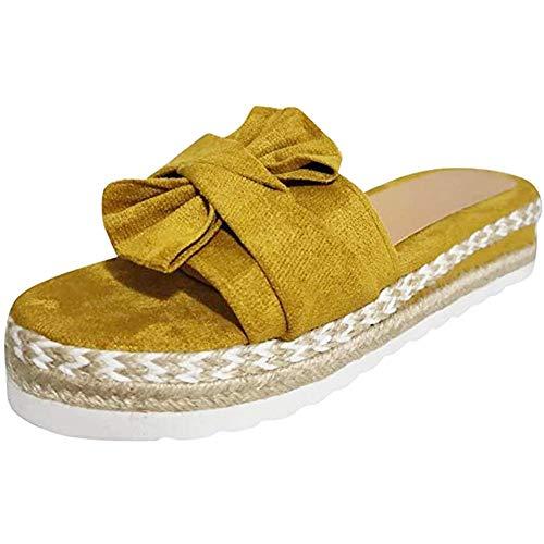 JFFFFWI Sandalias Mujer |Zapatos Planos para Mujer Zapatillas de Moda Sandalias de Verano para Mujer Zapatillas Bowknot Cuñas Zapatillas de Plataforma, Amarillo, 39