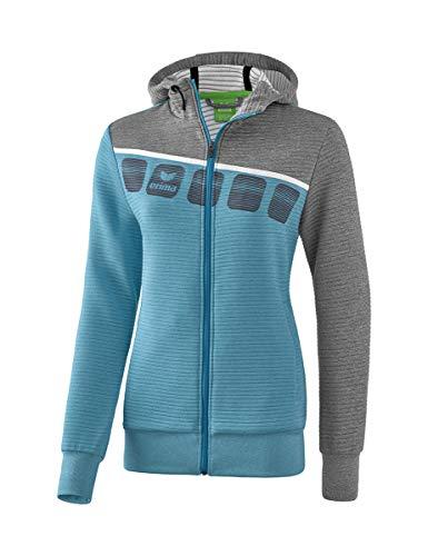 ERIMA Damen Jacke 5-C Trainingsjacke mit Kapuze, oriental blue melange/grau melange/weiß, 48, 1031915