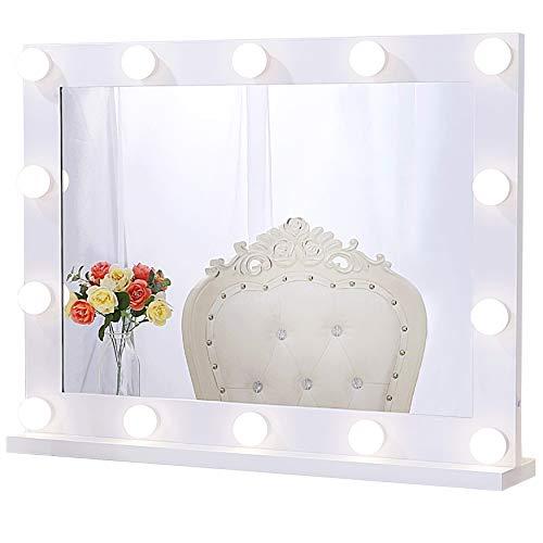 Chende Professionele make-upspiegel met licht, Hollywood spiegel met verlichting wandmontage, groot verlichte LED make-up spiegel met 3 kleurveranderingen, voor make-uptafel (wit)