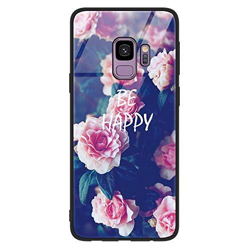 ZhuoFan Funda Samsung Galaxy S9 Plus, Cárcasa Silicona 3D Cristal Templado con Dibujos Design Antigolpes de Protector Case Cover Piel Fundas para Movil Samsung S9Plus 6,2 Pulgadas, Flores