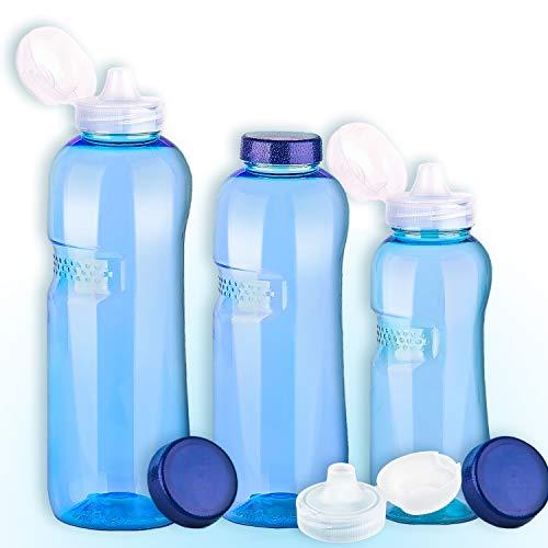 3er Set Trinkflaschen 0,5-0,75-1L Wasserflaschen + 3 x Trinkdeckel
