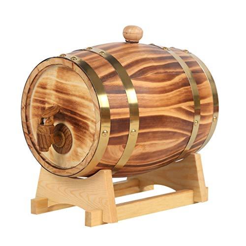 Eichenfass Eichen Fass für Whisky oder Wein Eichenfässer, 1,5 L Alte Holzfässer Aus Eichenholz für Die Weinbereitung Oder Lagerung von Brandy-Whisky-Tequila Vintage Holz Eichenholz Bierfass aus Holz