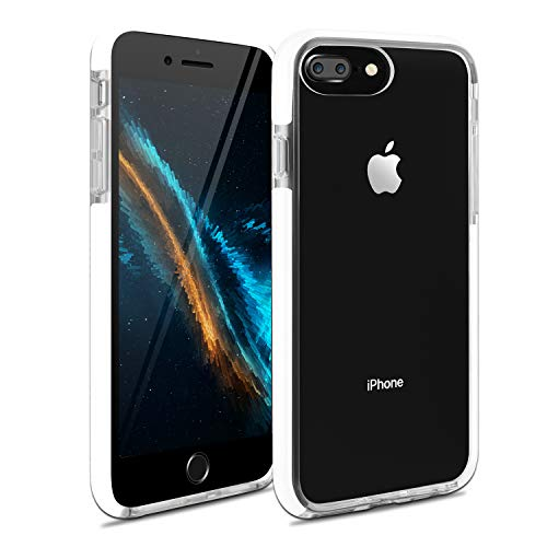 iPhone 7 Plus Case iPhone 8 Plus Case iPhone 6 Plus Case iPhone 6sPlus Case, Crystal Clear Anti-Scratch Anti-Slippery Transparent Shockproof Cover Bumper Protective Case (White)