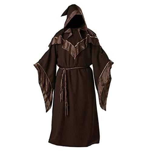 Harrypetter Halloween Adulto Toga de Monje Medieval Hombre Disfraz de Brujo Mistico Oscuro Mago Padrino Religioso, XL
