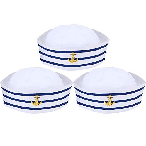 Syhood Blau mit Weißen Segelhüten Marine Seemann Hut für Kostüm Zubehör, Anziehparty (3 Packungen)