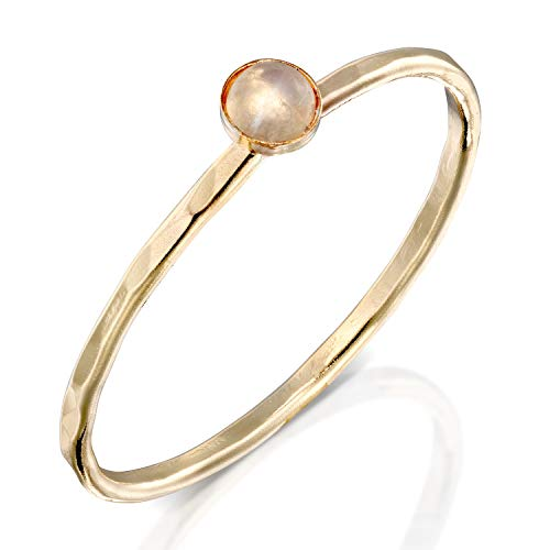 FABIN JEWELRY Handmade Hammered Gold Filled and Natural Moonstone Stackable Ring