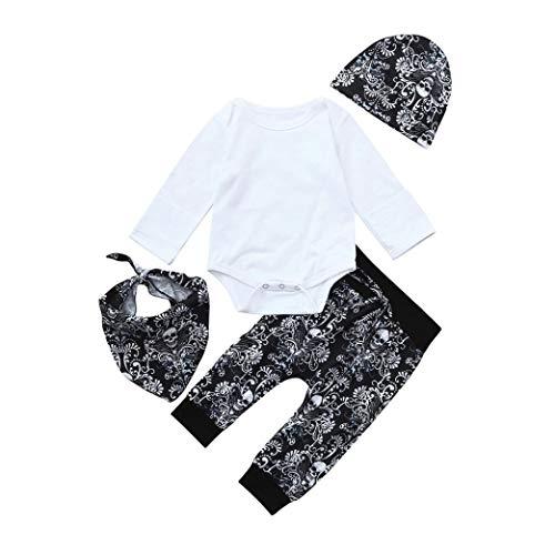 Conjuntos para Unisex Bebé Niños Niñas Otoño Invierno PAOLIAN Monos Manga Largas + Pantalones + Gorros + Toalla de la Saliva Estampado Calaveras Ropa para Bebé Recien Nacidos Bautiz Fiestas
