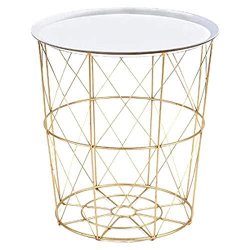 ZBXCVZH Mesa de centro de metal de hierro sucio cesta de almacenamiento de té fruta Snack bandeja bandeja de servir cubierta blanca dorada trompeta 34,5 x 30,5 x 23 cm
