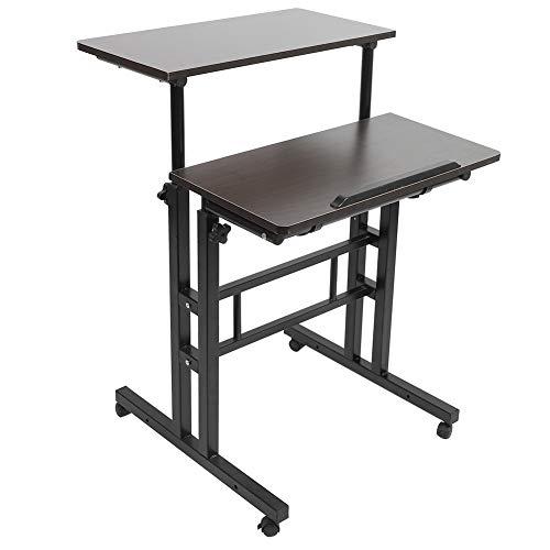 Laptoptisch Höhenverstellbar Laptop-Schreibtisch mit Rollen, Abnehmbarer Computertisch für Schlafzimmer und Sofa, Computer-Stehpult mit Rollen Multifunktional Mobile Podium
