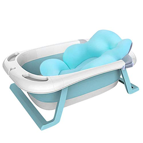 XUDREZ ベビーバス 折りたたみバケツ 赤ちゃん浴槽 安全素材 湯温計付き キッズ 新生儿 風呂桶 バスタブ ソフトタブ バスプール たらい 滑り止め設計 収納容易 (ブルー3)