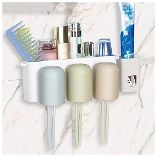 LHHL Muurbevestiging, multifunctionele tandenborstelhouder, organizer, automatische tandpastadispenser voor alle soorten tandenborstels