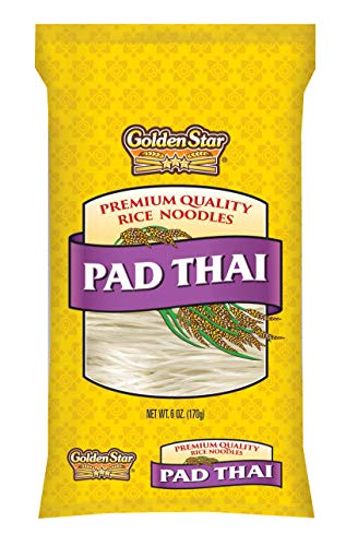 Golden Star, Pad Thai Noodles, 100% natural perfect for soups and Thai noodle dishes, Six Ounce Bag, Eight pack