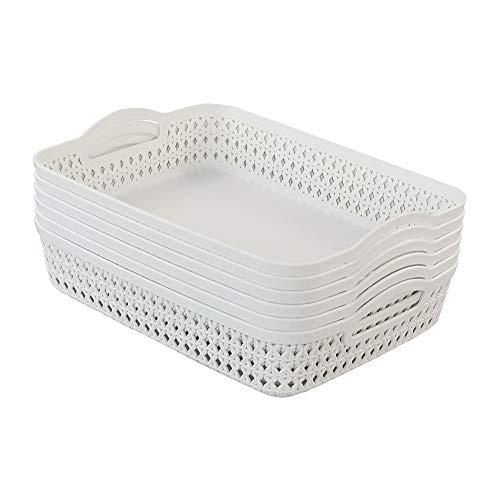 Callyne Set di 6 cestini portaoggetti grandi in plastica bianca