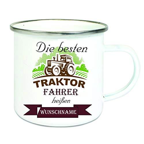 Crealuxe Emailletasse m. Wunschname Die besten Traktorfahrer heißen. Wunschname - Kaffeetasse mit Motiv, Bedruckte Tasse mit Sprüchen oder Bildern