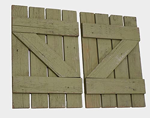 Wood Window Shutters Set of (2) 14.5 Inch Wide X 21.75 Tall Reclaimed Barn Wood Decorative Interior Rustic Farmhouse Decor Style Western Vintage Inspired Black Inside White Indoor Wooden Western