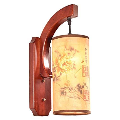 OUPPENG Moderna de Estilo Europeo Lámpara de Pared de Estilo Chino con lámpara de la mesita de Madera Maciza, lámpara Dormitorio Moderno y clásico en el Pasillo del Hotel (Color: Rojo Oscuro, tamaño:
