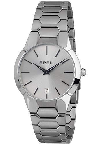 BREIL - Herrenkollektion Armbanuhr New ONE TW1849 - wasserdichte Herrenuhr - Edelstahlarmbanduhr - TMI VK64 Uhrwerk - Weißes Zifferblatt mit Stahlarmband