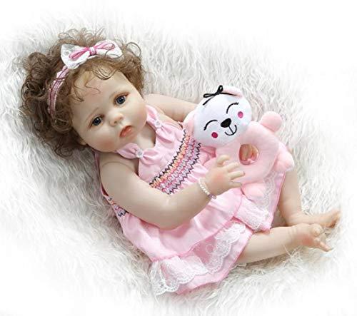 SYP 23 Pulgadas 57 cm Bebé Reborn Cuerpo Entero Silicona Niña Ojos Abiertos...