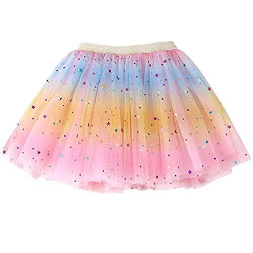 Ruiuzi Girls Tutu Skirt Children Skirt Classic 4 Layers Kids Tulle Tutu Skirt for Party Halloween Party Dress Up Costume