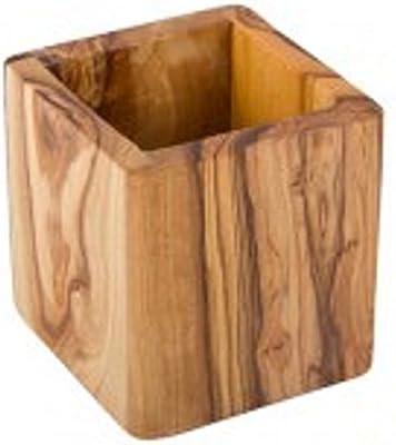 Utensilo, bote, pequeño, rectangular, de madera de olivo