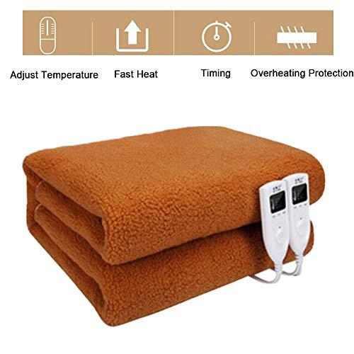 Verwarmingsdeken van vlies elektrische verwarmingsdeken met veiligheidssysteem en 5 temperatuurniveaus, eenvoudige bevestiging op bed en matras, wasbaar op 300,bruin, 1,8 m × 1,5 m