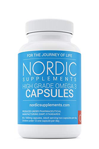 Nordic Supplements High Strength Pharmaceutical Grade Omega 3 Fish Oil Capsules, 1000 mg, Pot of 60 Capsules