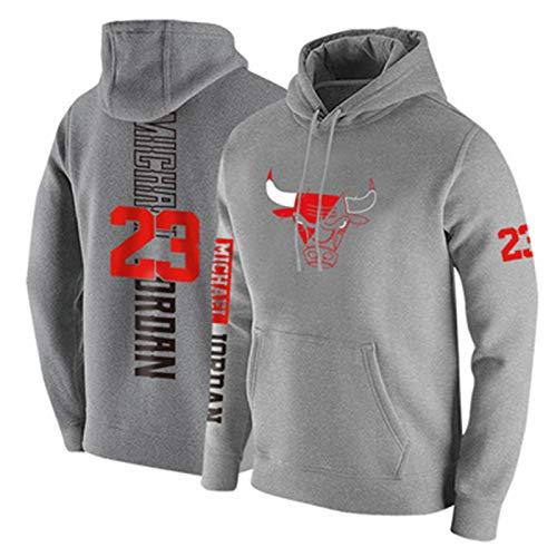 2020 Sudadera con Capucha De Jordan para Hombre, Toros 23 Camiseta De Baloncesto Jersey De Manga Larga Pollover a Prueba De Viento Y Cálido Juego Uniforme TIK Tok Ca Grey-XL