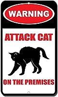 装飾ポスター看板、オンプレミスの警告攻撃猫、鉄ポスター絵画ティンサインヴィンテージ壁の装飾カフェバーパブホームビール装飾工芸品