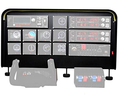 "Meza Mount Cockpit Simulator Panel Kit - Pre-Cut Aluminum Alloy Flight Sim Mounting Set - Compatible with Logitech, Saitek & Honeycomb Yokes, Throttle Panels - With LED Light Bar - 30""x20""x 4"""