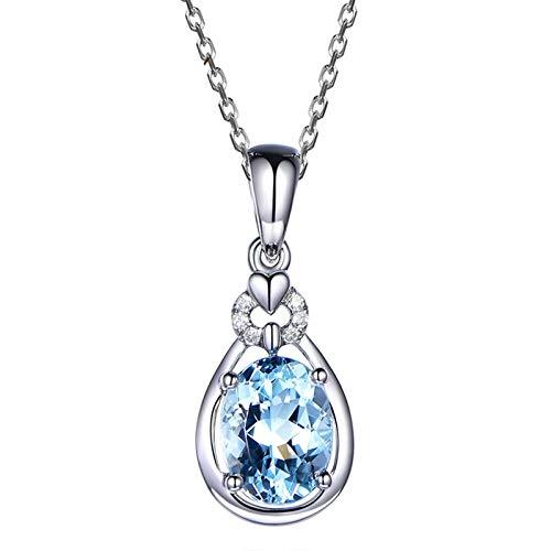 KnBoB Damen Kette 750 Weißgold Träne Oval Hellblau Aquamarin 1.3ct mit Weiß Diamant 0.03ct Halskette Ketten Länge45 cm