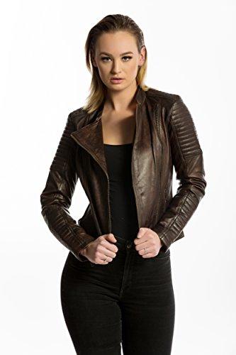 Urban Leather Fashion Lederjacke - Sylvia, Braun, S