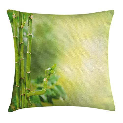 Funda de cojín colorida para spa, diseño de bambú, color verde con otros sujetadores de árbol y arbustos, funda de almohada decorativa cuadrada, 45,7 x 45,7 cm, color verde pálido