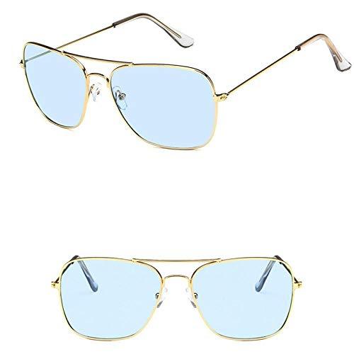 des Lunettes de Soleil Sunglasses Lunettes De Soleil Classiques Femmes Lunettes De Vue en Métal Vintage pour Hommes Miroir Rétro Uv400 Or Bleu