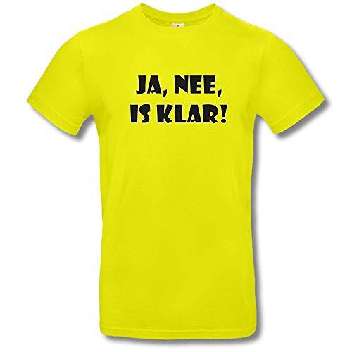 HAPPY FREAKS Spruch-T-Shirt 'Ja, nee, is klar!' - Herren/Unisex Rundhals-Funshirt M Lime