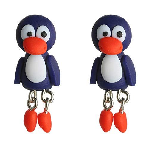 Caimeytie Pendientes de niña Pendientes animales personalizados en 3D creativos pingüinos