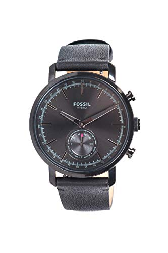 Fossile Luther-Hybrid Smartwatch mit schwarzem Lederband für Herren BQT1101