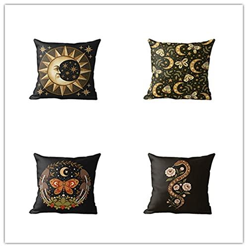 HYOOPL Funda Cojin 45 x 45 cm 18 x 18 Inches Juego de 4 Fundas de Cojines Cuadrado Terciopelo Funda de Almohada Cojines Decorativos para Sofa,Resumen D6450