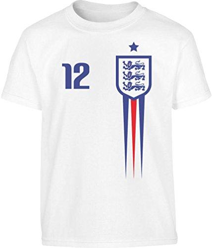 England Fußball EM Fantrikot Fan-Shirt Kleinkind Kinder Jungen T-Shirt 128 Weiß