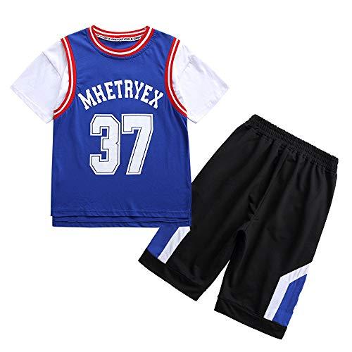 TANERDD Basketball Trikot Set Mädchen Basketball Trikot Uniform Atmungsaktive Kinder Basketball Team Trainingskleidung,Blau,160cm