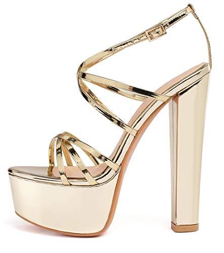 elashe-Sandali Donna con Tacco e Plateau - 6' Scarpe col Tacco Blocco Alto- Cinturino alla Caviglia- Scarpe con Plateau Oro EU45