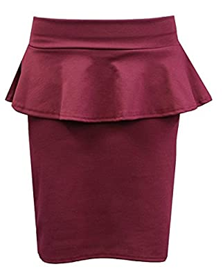 Crazy Girls Womens Flared Waist Peplum Frill Midi Bodycon Pencil Skirts