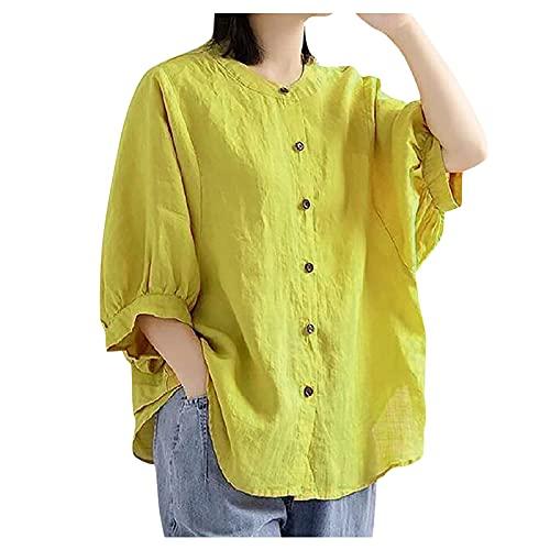 Julhold Blusa para mujer verano otoño manga corta linterna camisa algodón lino suelta botones en la parte delantera, amarillo, XXL